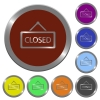 Color closed sign buttons - Set of color glossy coin-like closed sign buttons.