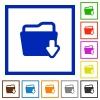 Folder download framed flat icons - Set of color square framed Folder download flat icons on white background