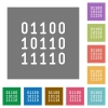 Binary code square flat icons - Binary code flat icon set on color square background.