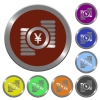Color yen coins buttons - Set of color glossy coin-like yen coins buttons.