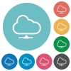 Flat cloud network icons - Flat cloud network icon set on round color background.