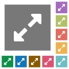 Resize full flat icon set on color square background. - Resize full square flat icons