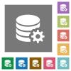 Database configuration square flat icons - Database configuration flat icon set on color square background.