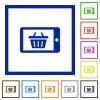 Mobile shopping framed flat icons - Set of color square framed mobile shopping flat icons on white background