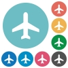 Flat airplane icons - Flat airplane icon set on round color background.