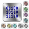 Steel binary code buttons - Engraved binary code icons on rounded square steel buttons