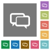 Chat bubbles square flat icons - Chat bubbles flat icon set on color square background.