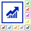 Rising graph framed flat icons - Set of color square framed rising graph flat icons on white background