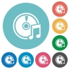 Flat audio CD icons - Flat audio CD icon set on round color background.