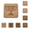 Trophy cup wooden buttons - Set of carved wooden Trophy cup buttons in 8 variations.