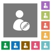 Edit user profile square flat icons - Edit user profile flat icon set on color square background.