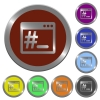 Color linux root terminal buttons - Set of color glossy coin-like linux root terminal buttons.