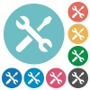 Flat tools icons - Flat tools icon set on round color background.
