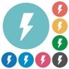 Flat flash icons - Flat flash icon set on round color background.
