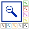 Zoom out framed flat icons - Set of color square framed Zoom out flat icons on white background