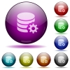 Set of color Database configuration glass sphere buttons with shadows. - Database configuration glass sphere buttons