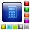 Color calculator square buttons - Set of calculator color glass rounded square buttons