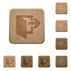 Exit wooden buttons - Set of carved wooden exit buttons in 8 variations.
