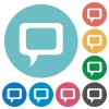 Flat comment icons - Flat comment icon set on round color background.