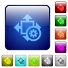 Color size settings square buttons - Set of size settings color glass rounded square buttons