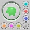Piggy bank push buttons - Set of color piggy bank sunk push buttons.