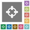 Crosshairs square flat icons - Crosshairs flat icon set on color square background.