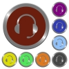 Color headset buttons - Set of color glossy coin-like headset buttons.