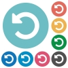 Flat undo changes icons - Flat undo changes icon set on round color background.