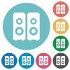Flat speakers icons - Flat speakers icon set on round color background.