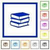 Books framed flat icons - Set of color square framed books flat icons on white background