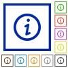 Information framed flat icons - Set of color square framed information flat icons on white background