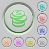 Set of color dollar coins sunk push buttons. - Dollar coins push buttons