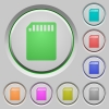 SD memory card push buttons - Set of color SD memory card sunk push buttons.