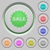 Sale badge push buttons - Set of color sale badge sunk push buttons.