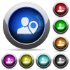 User location button set - Set of round glossy user location buttons. Arranged layer structure.
