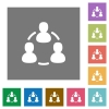 Online users square flat icons - Online users flat icon set on color square background.