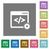 Web development square flat icons - Web development flat icon set on color square background.