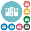 Flat server hosting icon set on round color background. - Flat server hosting icons