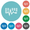 Flat music waves icons - Flat music waves icon set on round color background.