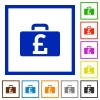 Pound bag framed flat icons - Set of color square framed Pound bag flat icons on white background