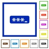 Password typing framed flat icons - Set of color square framed Password typing flat icons on white background