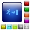 Color exit square buttons - Set of exit color glass rounded square buttons