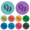 Color coffee beans flat icons - Color coffee beans flat icon set on round background.