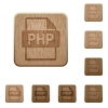 PHP file format wooden buttons - Set of carved wooden PHP file format buttons in 8 variations.