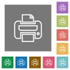 Print square flat icons - Print flat icon set on color square background.