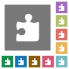 Puzzle square flat icons - Puzzle flat icon set on color square background.