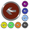 Color left arrow buttons - Set of color glossy coin-like left arrow buttons.