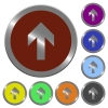Color up arrow buttons - Set of color glossy coin-like up arrow buttons.