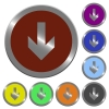 Color down arrow buttons - Set of color glossy coin-like down arrow buttons.
