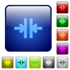 Set of vertical merge color glass rounded square buttons - Color vertical merge square buttons